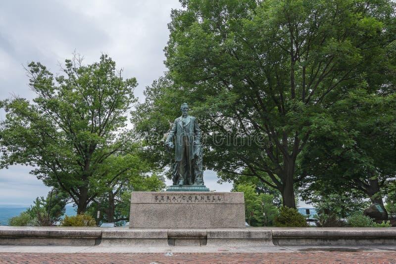 Ezra Cornell Statue Ezra era il fondatore di Cornell University immagine stock