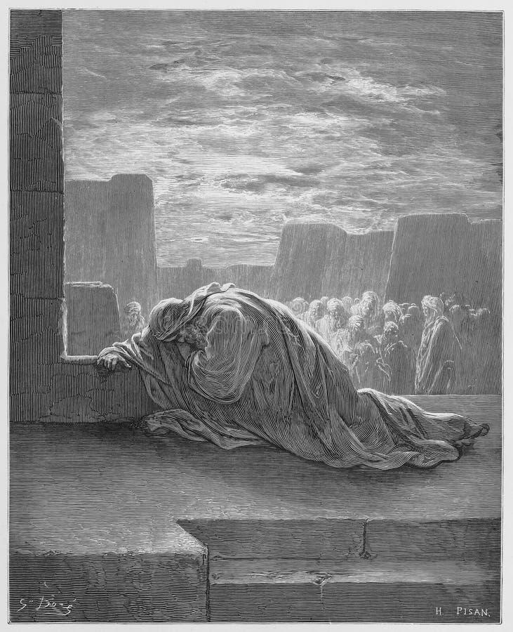 Ezra knielt in Gebed stock illustratie