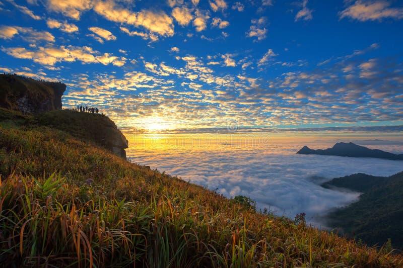Fá no nascer do sol, Chiang Rai do qui de Phu fotografia de stock
