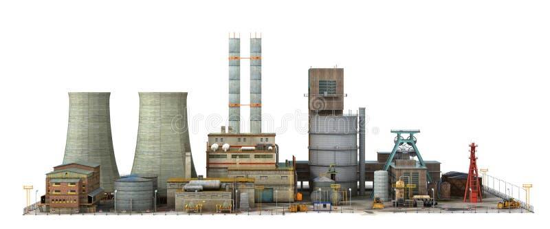 Fábrica aislada en el fondo blanco Industria libre illustration
