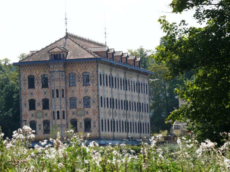 Fábrica anterior Menier del chocolate en Noisiel en el Sena y Marne, propiedad de Nestlé imagen de archivo libre de regalías
