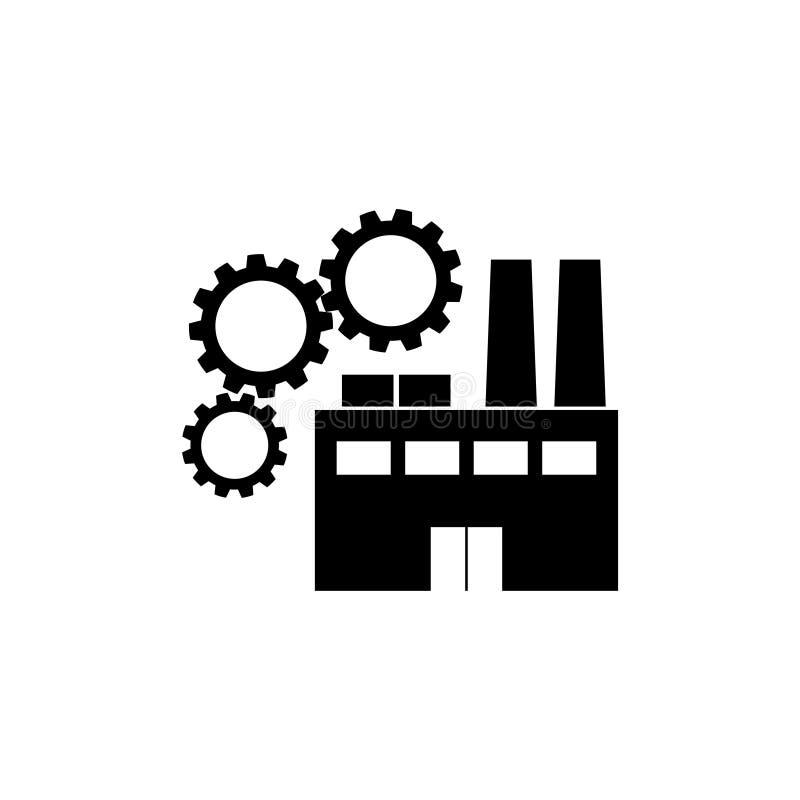 Fábrica com ícone das engrenagens ilustração stock