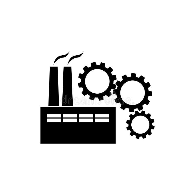 Fábrica com ícone das engrenagens ilustração do vetor
