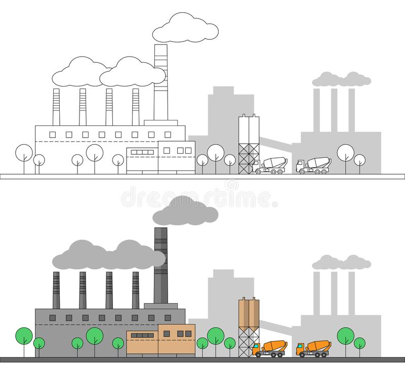 Fábrica concreta industrial e dois caminhões Ilustração lisa e linear do vetor coloração Pintura editable Paisagem Conduz w ilustração stock