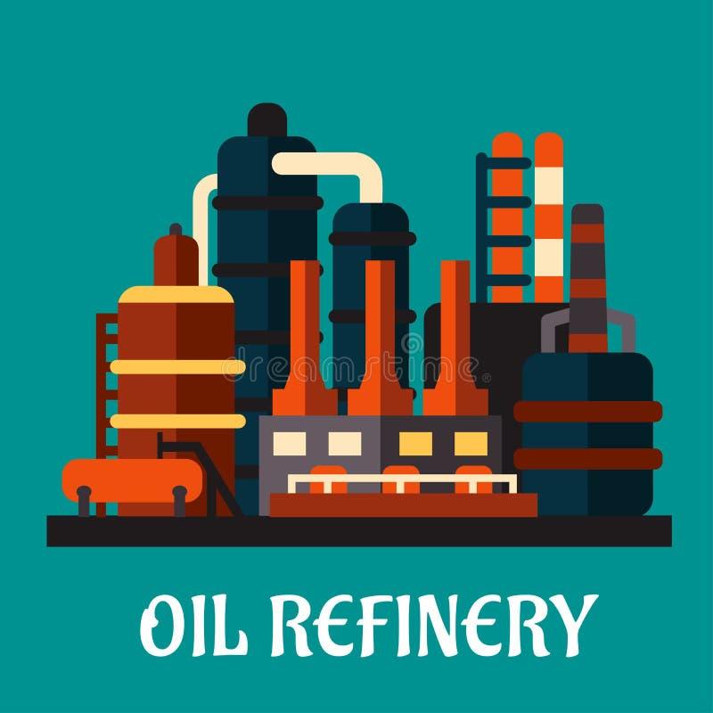 Fábrica da refinaria de petróleo no estilo liso ilustração do vetor