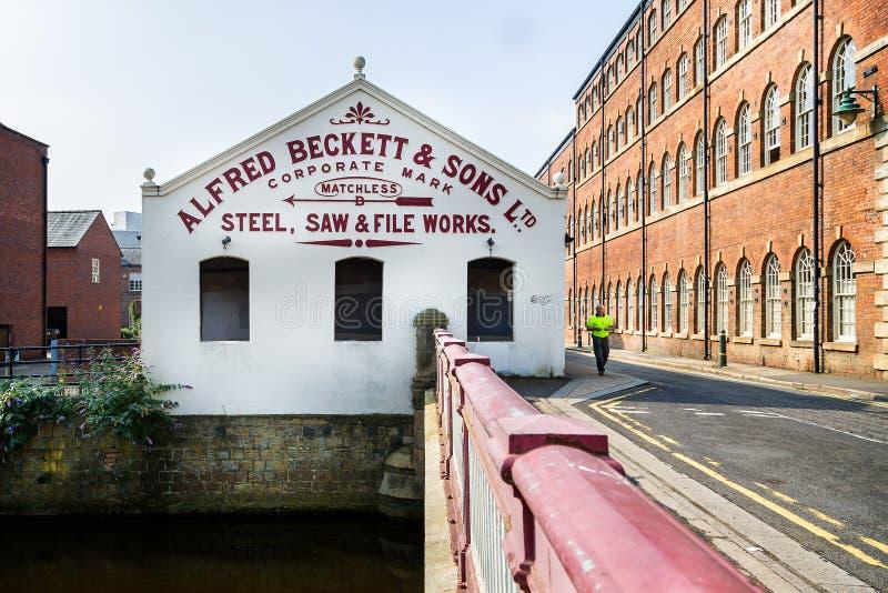 Fábrica de acero de Sheffield anterior de Alfred Beckett y de los hijos en Sheffield, Yorkshire, Reino Unido fotografía de archivo