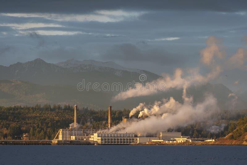Fábrica de celulosa industrial en el puerto Townsend, Washington imagenes de archivo