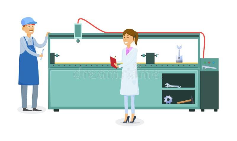 Fábrica de la fabricación, trabajador en forma de trabajo cerca de la máquina metalúrgica tecnológica stock de ilustración