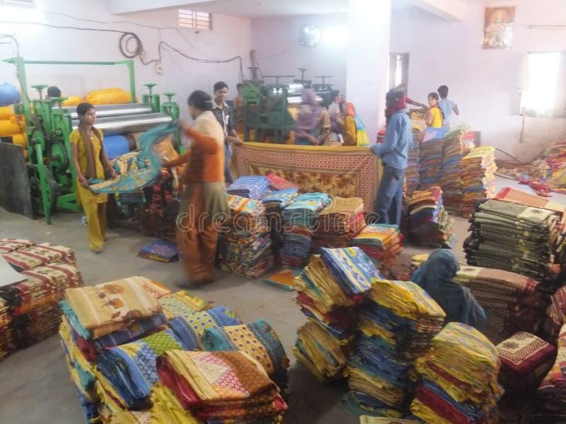 Fábrica de la materia textil en la India fotografía de archivo