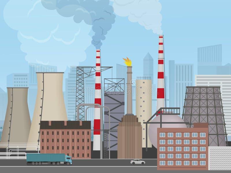 Fábrica de la planta en el fondo de la ciudad Paisaje industrial de la fábrica Concepto de la contaminación stock de ilustración