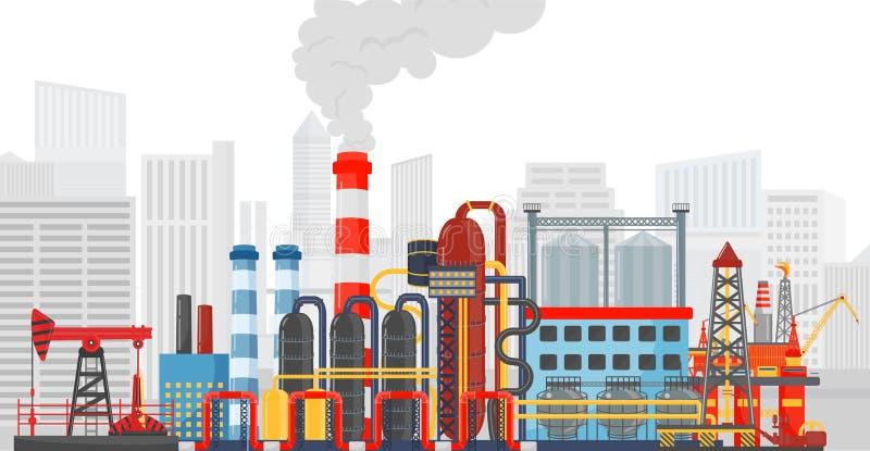 Fábrica de la planta en el fondo de la ciudad Paisaje industrial de la fábrica INDUSTRIA PETROLERA DEL ACEITE stock de ilustración