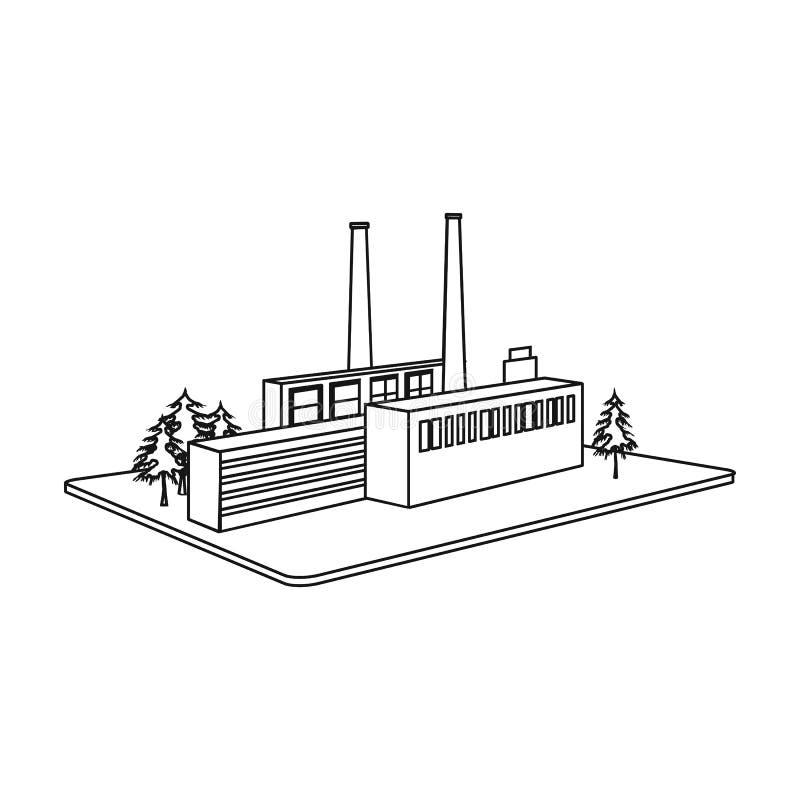 Fábrica de proceso La fábrica e icono de la industria el solo en esquema diseñan el web isométrico del ejemplo de la acción del s libre illustration