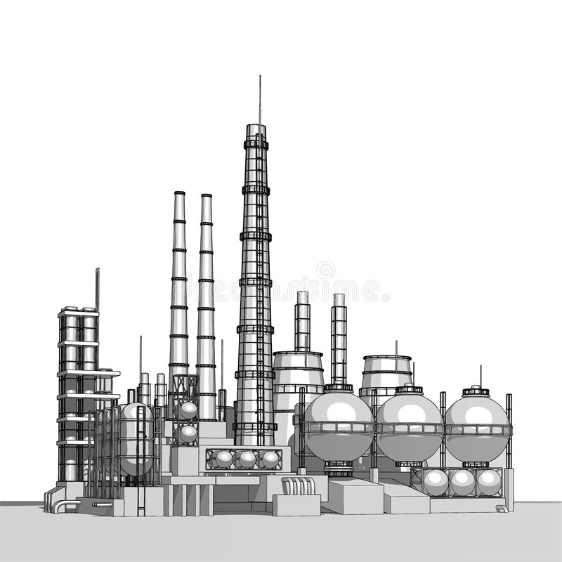 Fábrica de productos químicos stock de ilustración