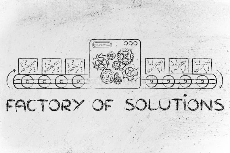 Fábrica de soluções: máquinas que fixam cada problema foto de stock