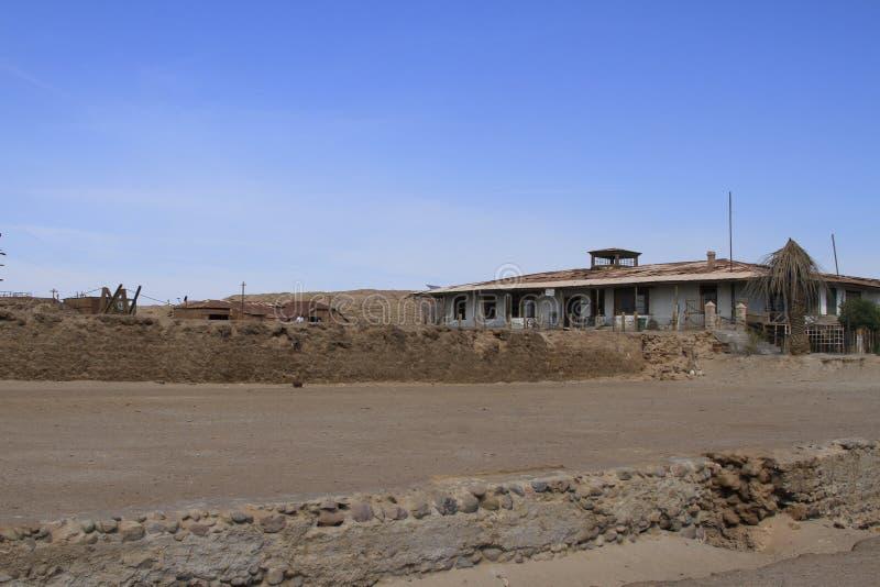 Fábrica de tratamento do salitre de Santa Laura Humberstone, Iquique, o Chile imagens de stock royalty free