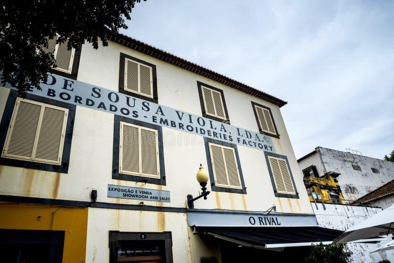 Fábrica del bordado en Funchal Madeira Portugal fotos de archivo