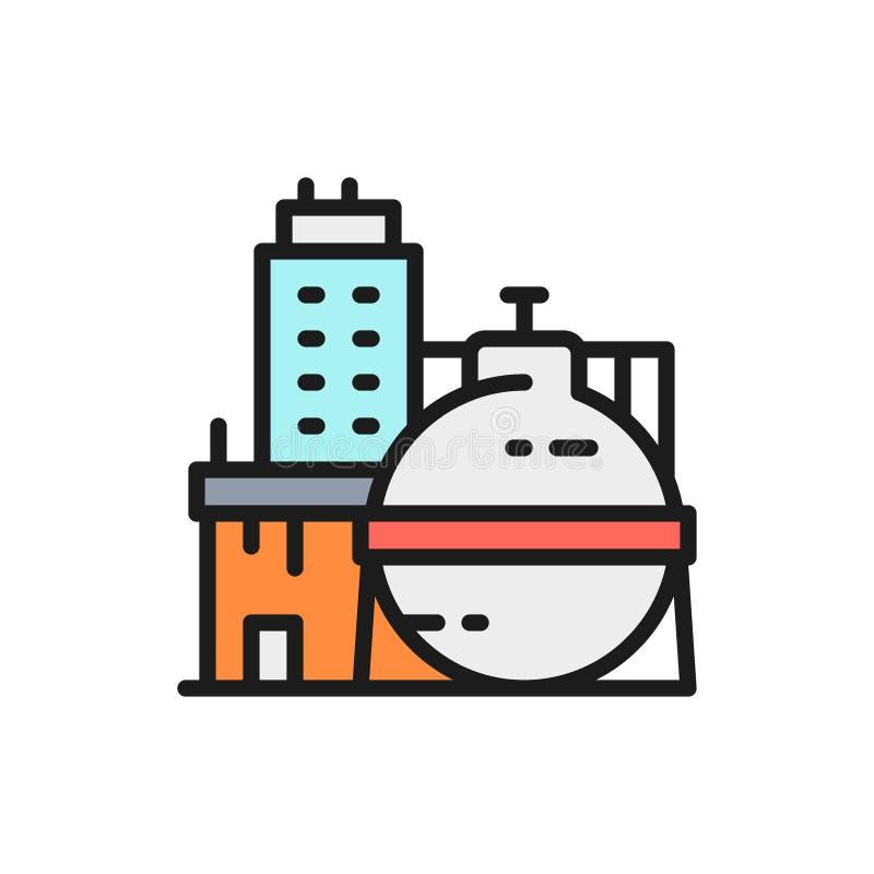 Fábrica do óleo do vetor, central química, linha de cor lisa ícone da construção industrial ilustração royalty free