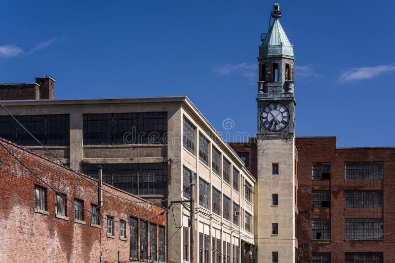 Fábrica do laço e torre abandonadas - Scranton, Pensilvânia imagem de stock