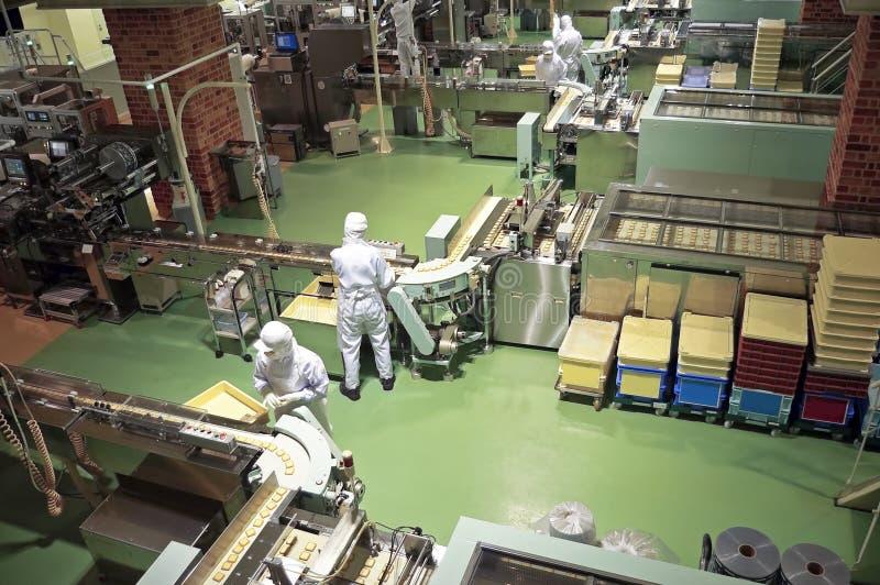Fábrica dos confeitos no bolinho da produção foto de stock