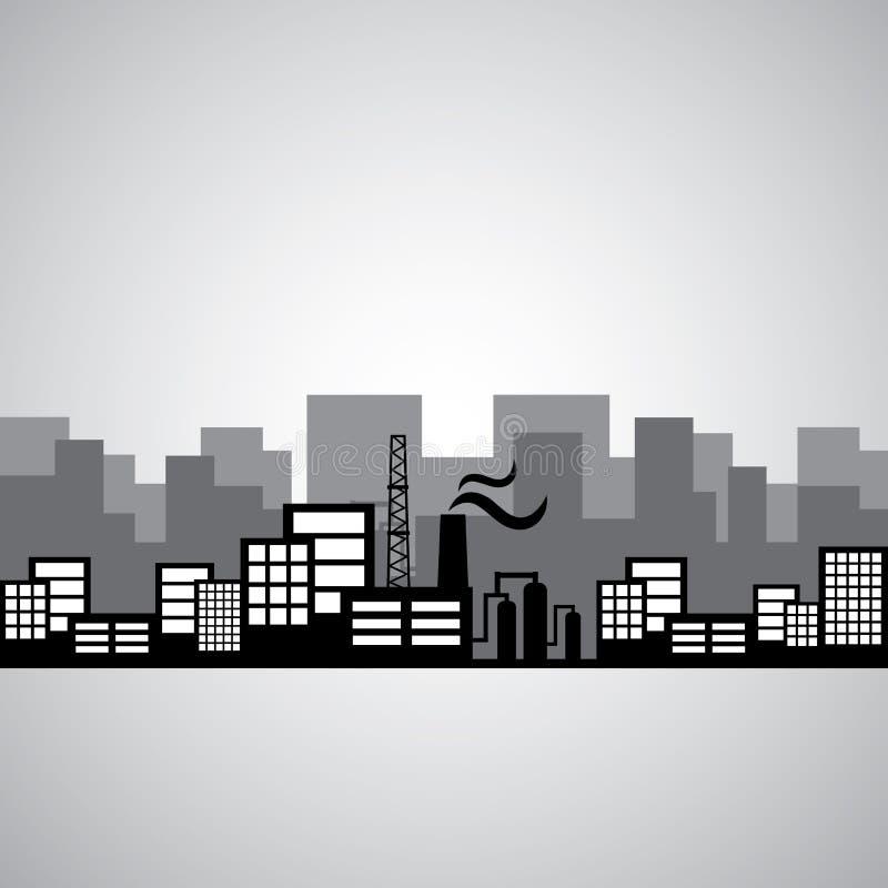 Fábrica e construção industriais ilustração stock