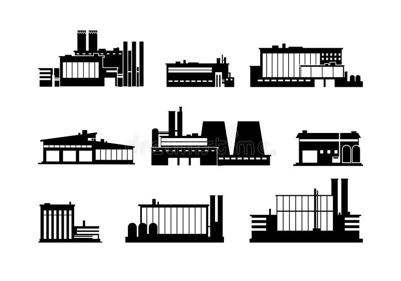 Fábrica, fábrica e iconos negros de la silueta del almacén aislados stock de ilustración