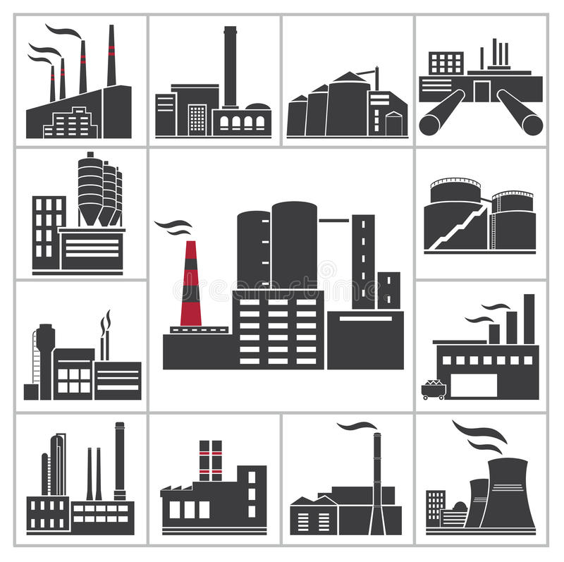 Fábrica e industria stock de ilustración