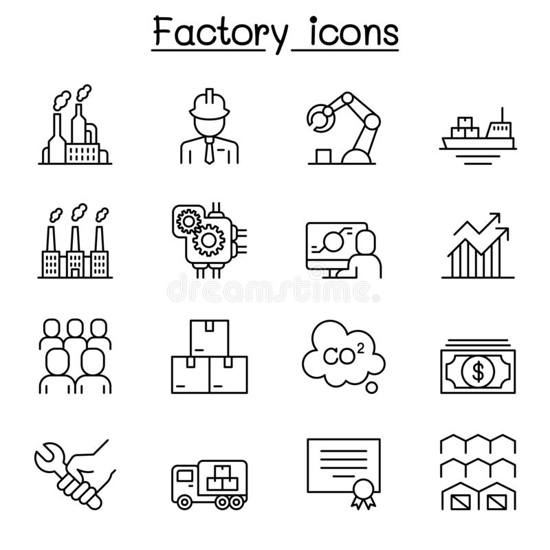 Fábrica, edificio industrial, sistema de fabricación del icono en la línea estilo fina ilustración del vector