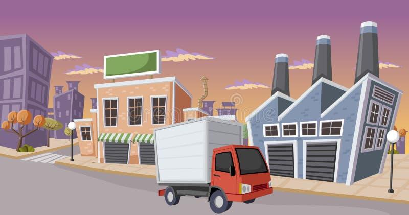 Fábrica en la ciudad ilustración del vector