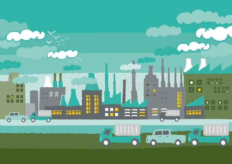 Fábrica en los conceptos del verde de la ciudad stock de ilustración