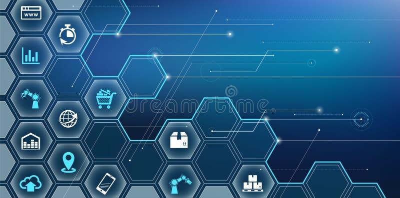 Fábrica esperta - alta - tecnologia e processos inteligentes da empresa ilustração stock