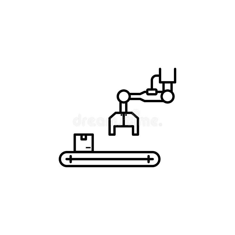 fábrica, guindaste, ícone da caixa Elemento do ícone da produção para apps móveis do conceito e da Web A linha fina fábrica, guin ilustração royalty free