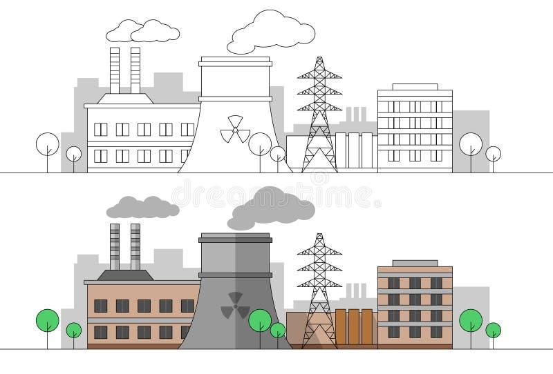 Fábrica industrial con la estación nuclear y la línea eléctrica Ejemplo plano y linear del vector colorante Pintura editable land libre illustration