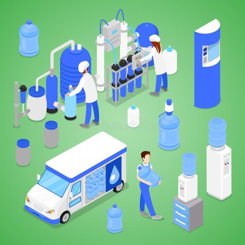 Fábrica isométrica da purificação de água com os trabalhadores que inspecionam a produção da qualidade ilustração do vetor