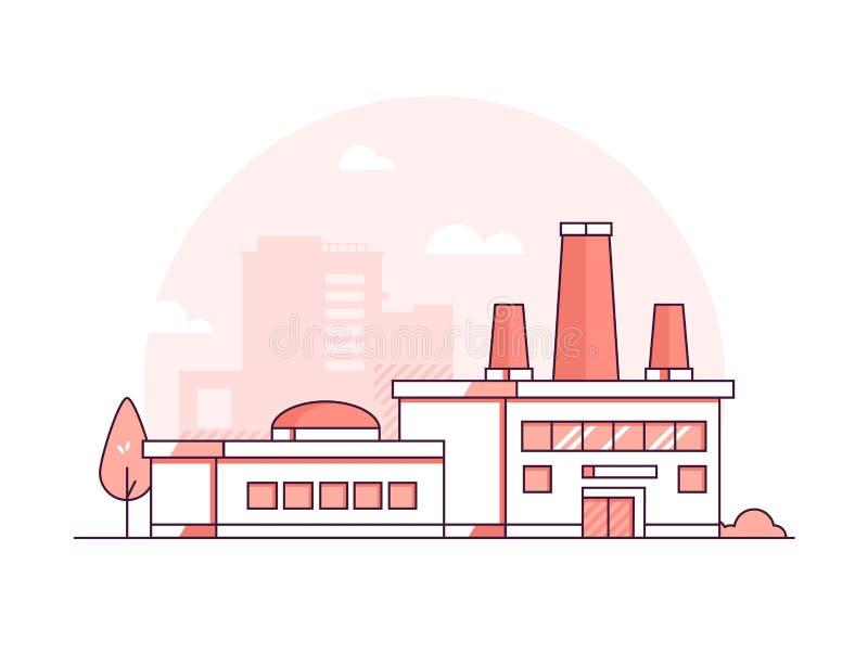 Fábrica - línea fina moderna ejemplo del vector del estilo del diseño stock de ilustración