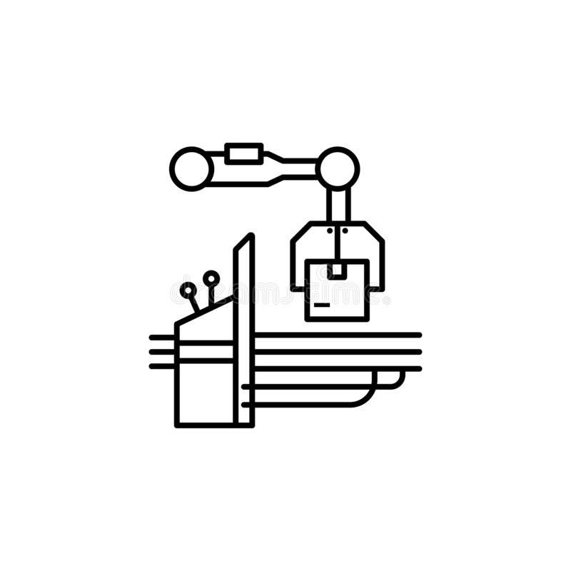 fábrica, máquina, ícone da produção Elemento do ícone da produção para apps móveis do conceito e da Web Linha fina fábrica, máqui ilustração do vetor