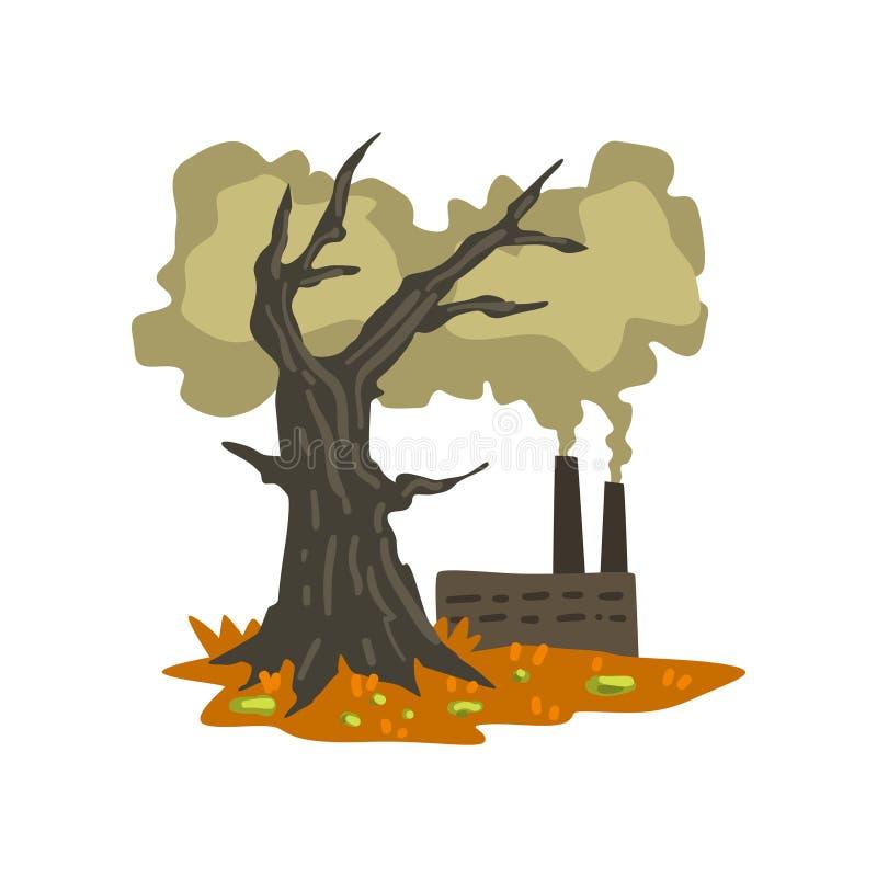 Fábrica muerta del árbol y de la contaminación, problema ecológico, concepto de la contaminación ambiental, ejemplo del vector en stock de ilustración