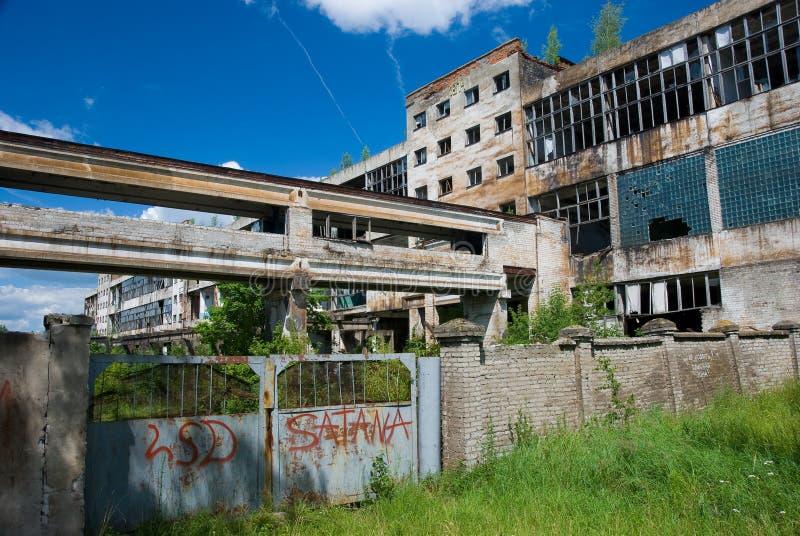 Fábrica química abandonada fotografia de stock royalty free