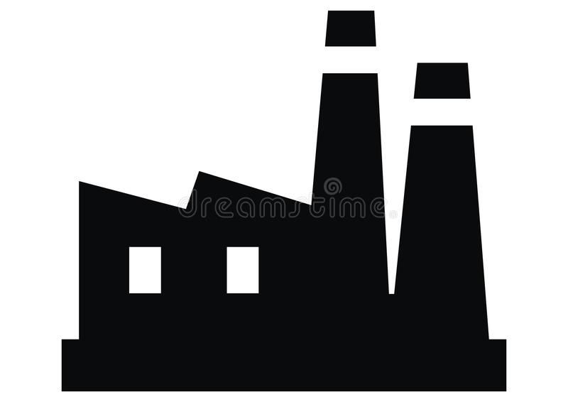Fábrica, silhueta preta do objeto industrial ilustração stock