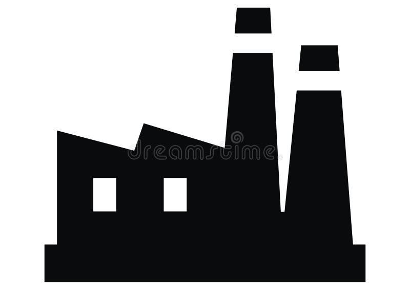 Fábrica, silueta negra del objeto industrial stock de ilustración