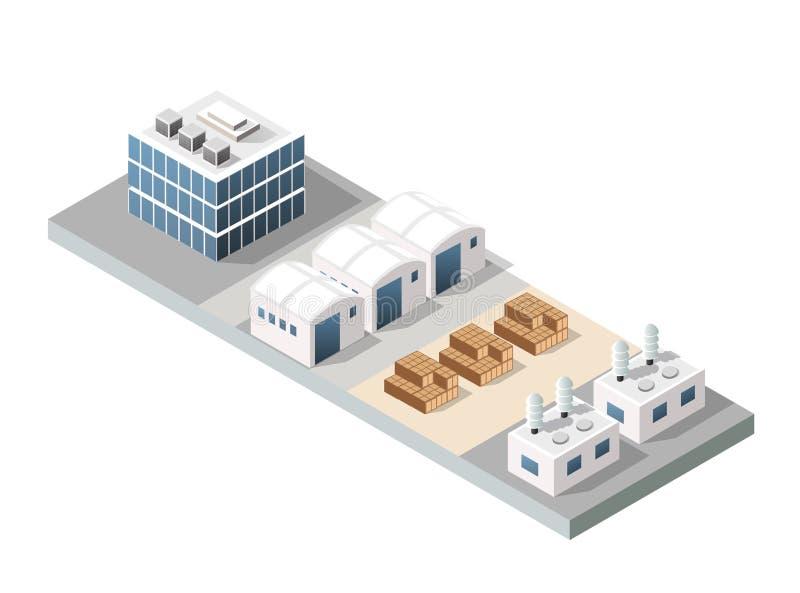 Fábrica urbana de la ciudad ilustración del vector