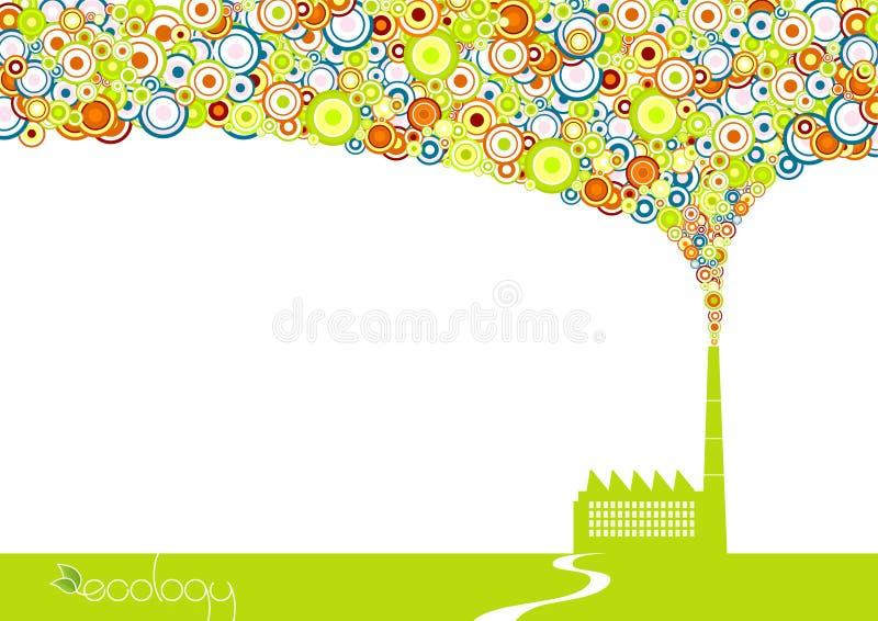 Fábrica verde con humo. stock de ilustración