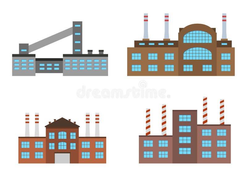 Fábricas ajustadas isoladas no fundo branco Ícone da fábrica no estilo liso ilustração royalty free