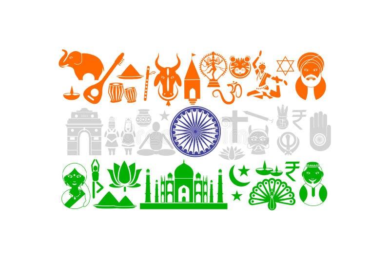 Bandera india con el objeto cultural stock de ilustración