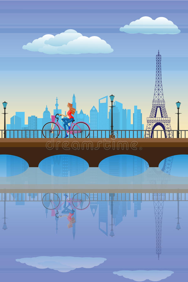 Señora que completa un ciclo en París stock de ilustración
