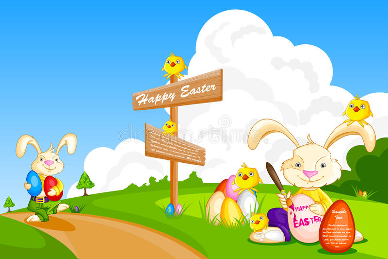 Conejito que pinta el huevo de Pascua libre illustration