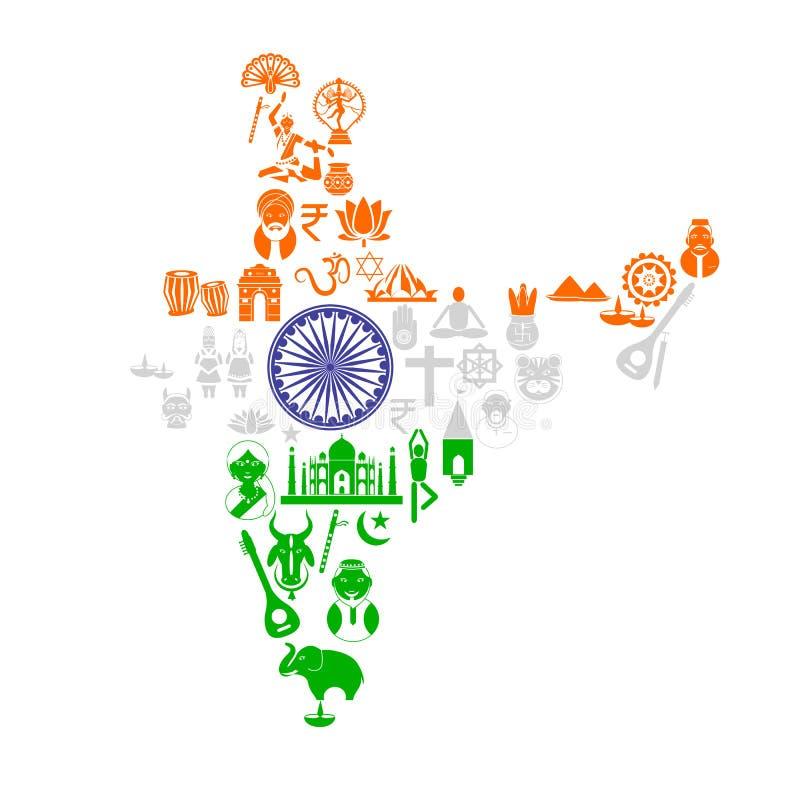 Mapa indio con el objeto cultural ilustración del vector