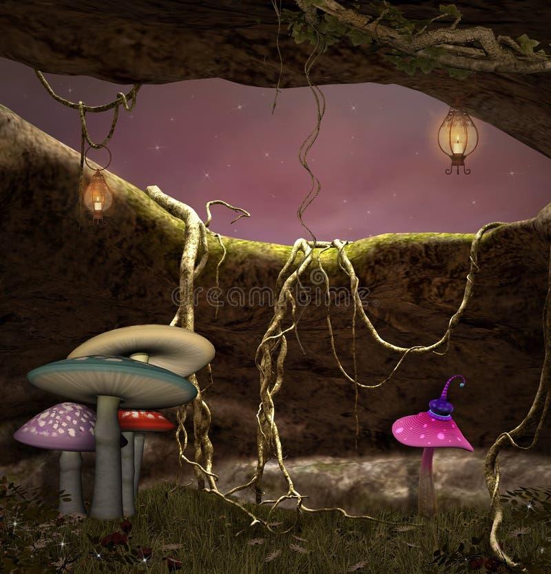 Färgrika champinjoner i underwooden stock illustrationer