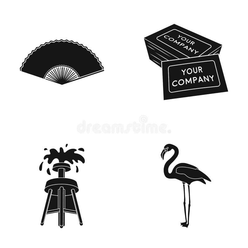 Fã, cartão e o outro ícone da Web no estilo preto lubrifique a fonte, ícones do flamingo na coleção do grupo ilustração royalty free