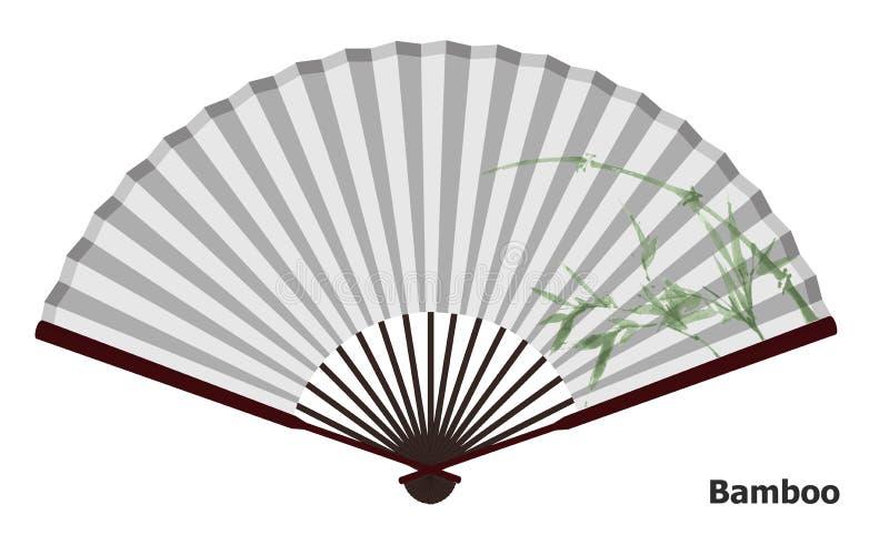 Fã chinês antigo com bambu ilustração do vetor