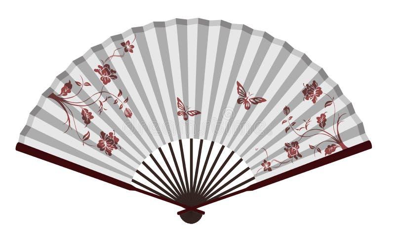 Fã chinês tradicional antigo com flores e borboletas ilustração do vetor